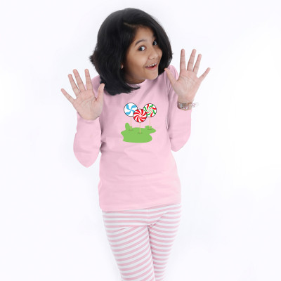 Pink Full Sleeve Girls Pyjama - Candy Stick